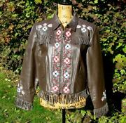 Double D Ranch Ranchwear Chocolate Brown Floral Beaded Embroidered Jacket M Euc