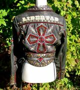 Double D Ranch Ranchwear Pigalle Cross Black Leather Collector Jacket S Euc