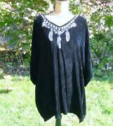 Double D Ranch Ranchwear Black Velvet Embroidered Feather Poncho Tunic Euc 2x