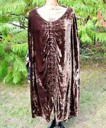 Double D Ranch Ranchwear Brown Velvet Embroidered Poncho Jacket Euc L/xl Rare