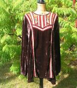 Gorgeous Double D Ranch Ranchwear Brown Velvet Embroidered Tunic 2x Euc