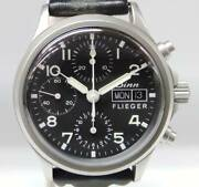 Sinn Flieger 356 Chronograph Black 38mm Day Date Ss Leather Automatic Watch Used