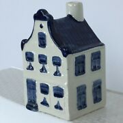 Klm Airlines Ashtray House Blue Delft Pottery Dutch Canal 5 Vtg Advertising