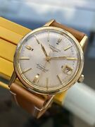 Longines Conquest Vintage Gold Steel Automatic 24 Jewels Leather Mens Watch Box