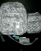 Vera Bradley Performance Twill Xl Backpack Deluxe Lunch Id Lanyard Rain Forest