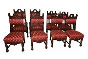 Vibrant And Rich Set Of Eight Renaissance Chairs Turn Of Century Walnut