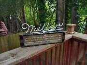 Vintage Miller High Life Beer Art Deco Reverse Painted Glass Neon Sign