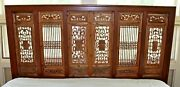 Mid Century Modern King Size Asian Carved Wood Screen Headboard 1970s