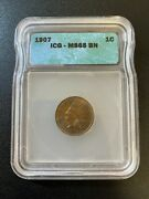 1907 Indian Head Penny Icg Ms-65 Bn - Uncirculated Indian Cent - Certified - 1c