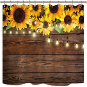 Riyidecor Rustic Sunflowers Shower Curtain Wooden Board Light Brown Yellow Plant