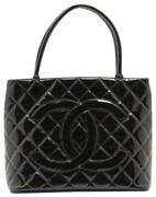 Black Quilted Patent Leather Medallion Tote Bag 197ca83