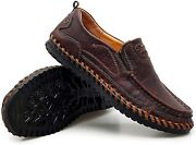 Moodeng Men`s Leather Loafers Casual Slip-on Shoes Outdoor Summer Boat Shoes Com