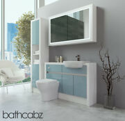 Bathroom Fitted Furniture Duck Egg Blue Gloss/white Matt 1200mm H2 With Wall And T
