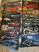 90 Brand New Assorted Nfl Team Pennants - Jets, Panthers, Bucs, Texans And More