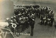 1917 Rppc Lot Of 4 Wwi Funeral Service Uss Cruiser Navy Band Real Photo P231