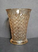 Vintage Unbranded Glass Vase Amber Faceted Diamond Cut, 7 Tall 5 1/2 Diameter