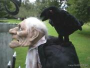 Animated Life Size 5 Ft 2 Carl The Butler And His Talking Raven Halloween Prop