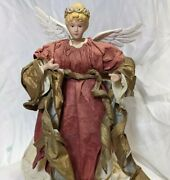 Vintage 1980s 12 Paper Mache Angel Tree Topper Red Gold White Ivory Gold Halo