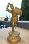 Large Antique Knight Statue - Garniture Piece For Clocks- French Ansonia