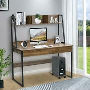 Home Office Computer Desk With Hutch/bookshelf, Desk With Space Saving Design ,