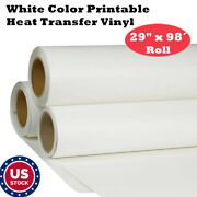 29 X 98´ Roll White Color Printable Heat Transfer Vinyl For T-shirt Fabric