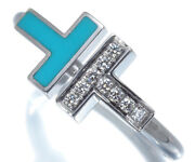 Auth And Co Ring Turquoise Diamond T Wire Us7 18k 750 White Gold