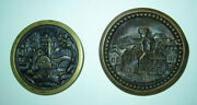 Lot Of Two Large Antique Brass Picture Buttons Villages Mill Water Wheel Bridge