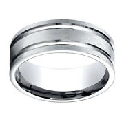 Jewelry 18k White Gold 8.00 Mm Comfort-fit Menand039s Wedding Band Ring Sz-9