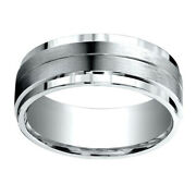 18k White Gold 8.00 Mm Comfort-fit Menand039s Wedding And Anniversary Band Ring Sz-8