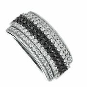 1 Carat Enhanced Black And White Diamond Ring In Solid 10k White Gold