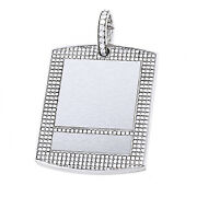 15.24 Ct Round Cut Simulated Diamond 14k White Gold Over Menand039s Dog Tag Pendant