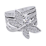 Cubic Zirconia Dragon Fly Ring 18k White Gold Over Sterling Silver