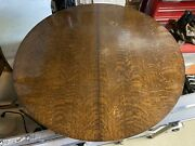 Arts And Crafts Mission 48 Round Tiger Oak Dining Table With 2 Leaves