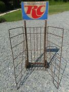 Vintage Rc Cola Two Sided Sign On Advertising Store Rack