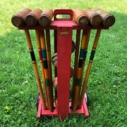 Vintage South Bend Toy Co. Wooden Croquet 6 Player Set On Wheel Cart