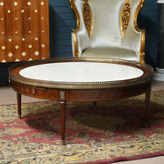 Round Mahogany Parquetry With Brass Ormolu And Cream Marble Top