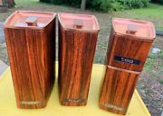 Vintage Lincoln Beauty Ware Metal Canister Container Set W/ Rose Gold Lids.
