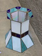 Set Of 9 Unusual Vintage Stained Glass Hanging Lamps, From An Old Chapel