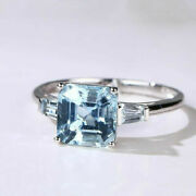 18ct Solid White Gold Baby Blue Aquamarine And Diamond Estate Ring Vvs