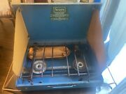 Vintage Sears Two Burner Camp Stove Blue/yellow Model 476.74970