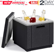 Outdoor Wicker Cooler Ice Cube Beer And Wine Cooler Table Perfect For Multiuse