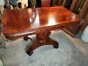 Antique Flame Mahogany Server Flip Top Table - Solid Mahogany Dining Table