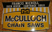 Mcculloch Chainsaw Dealer Original Advertising Metal Sign