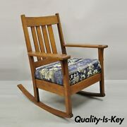 J.m. Young And Sons Antique Mission Oak Arts And Crafts Rocker Rocking Chair