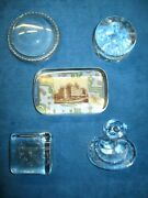 5-vintage/antique Clear Glass Paperweights..very Nice And Unique Variety
