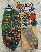 Lot - 1980's Vintage Girl Scout Sash 69 Badges 12 Patches 6 Pins Retired Look