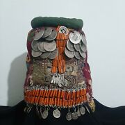 Antique Hand Made Palestinian Cap Solid Silver Coins Natural Coral بيت لحم