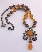 Vintage Miriam Haskell Necklace Signed Beaded Amber Colored Marcasite Rhinestone