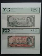 1954 Bank Of Canada Devils Face 1and 2 Bc-29a And 30a Matching Low Serial And039s 384