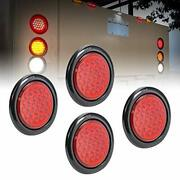 4pc 4 Round Red 24 Led Trailer Tail Lights Dot Certified Grommet And Plug Incl...